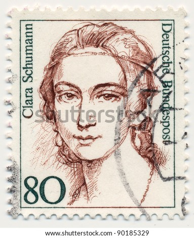 GERMANY - CIRCA 1986: stamp printed by Germany, shows portrait of Clara Schumann (1819-1896), musician and composer, series Famous Women, circa 1986