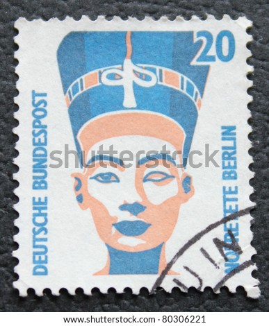 GERMANY - CIRCA 1987: stamp printed in Germany, show  Nefertiti of Egypt queen  , circa 1987.