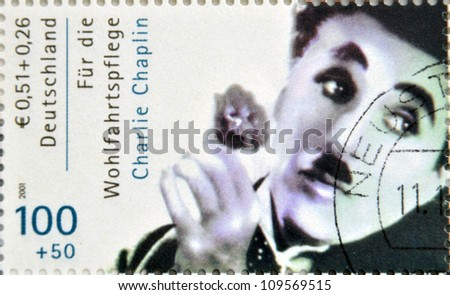 GERMANY CIRCA 2001 stamp printed in Germany showing actor Charles Chaplin circa 2005