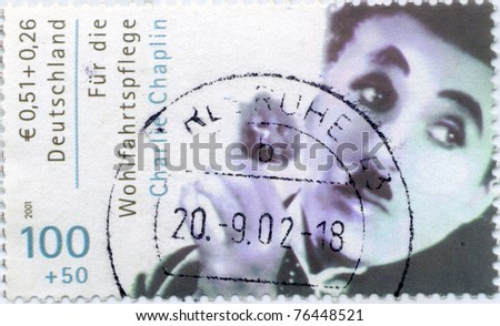 GERMANY - CIRCA 2001 : stamp printed in Germany showing ,actor Charles Spenser Chaplin,   circa 2005