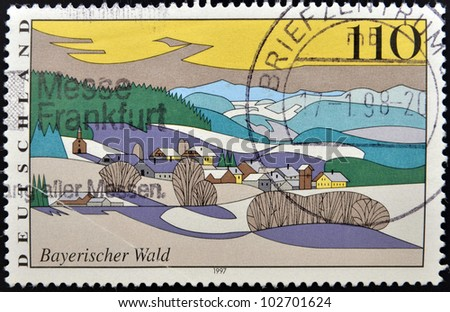 GERMANY - CIRCA 1997: stamp printed in Germany shows Bavarian Forest, circa 1997. - stock photo