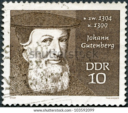 GERMANY - CIRCA 1970: stamp printed in Germany shows Johann Gutenberg (1400-1468), circa 1970