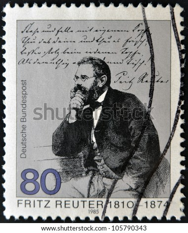 GERMANY - CIRCA 1985: stamp printed in Germany, shows portrait novelist Fritz Reuter , circa 1985.