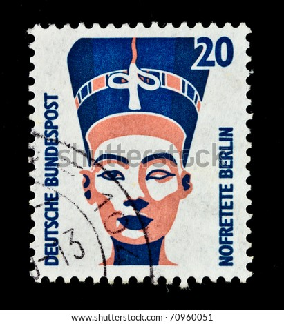GERMANY - CIRCA 1987: stamp printed in Germany, shows queen Nefertiti of Egypt, circa 1987.
