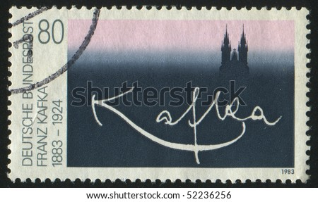 stock photo : GERMANY  - CIRCA 1983: stamp printed in Germany, shows signature Franz Kafka, circa 1983.