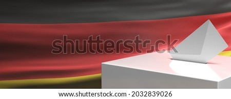 Germany election 2021, Envelope on ballot box slot, vote to elect the members of the Bundestag. White voting container on German national flag background, copy space, template. 3d illustration Photo stock ©