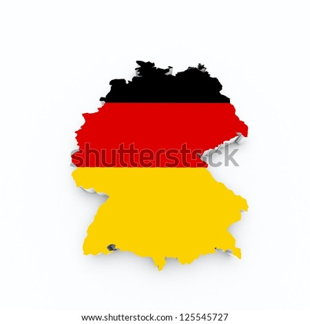 germany flag on 3d map