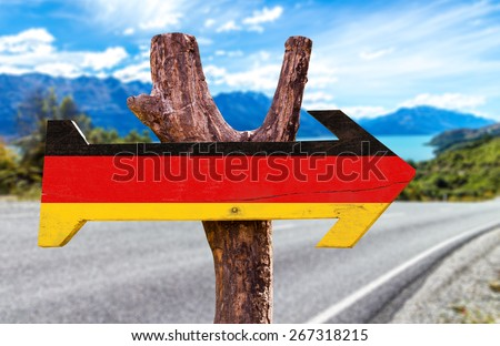 Germany Flag sign with road background