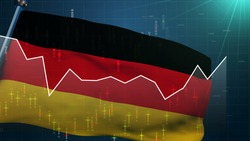 Germany flag stock market background, trade finance DAX, euro exchange currency