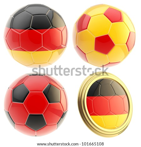 Germany football team set of four soccer ball attributes isolated on white