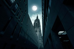 Germany, Frankfurt Cathedral or Frankfurter Dom in the Night with moon light in  Frankfurt am Main in Germany