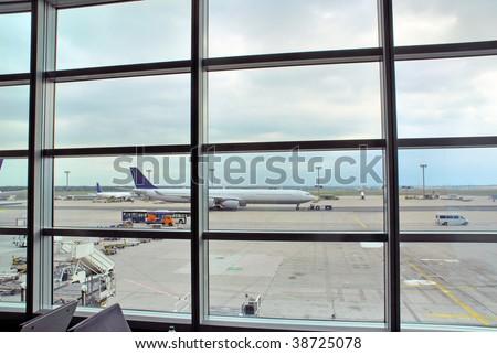 Germany, Frankfurt window view on the airport - stock photo