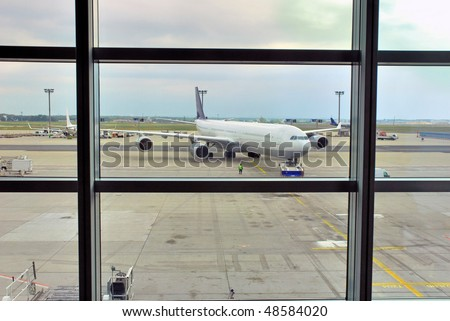 Germany, Frankfurt window view on the airport