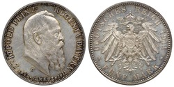 Germany German Bavaria silver coin 5 five mark 1911, subject 90th Anniversary Prince-Regent Luitpold, head right, imperial eagle with shield on chest surrounded by order chain,