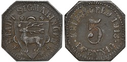 Germany German City of Sigmaringen iron token 5 five pfennig 1918, emergency WWI issue, shield with deer, denomination and date,