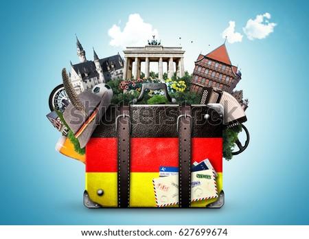 Germany, german landmarks, travel and retro suitcase - Shutterstock ID 627699674