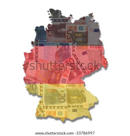 Germany Map flag with euro notes illustration