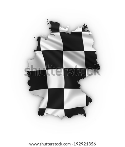 Germany map showing a checkered flag. High quality 3D illustration.