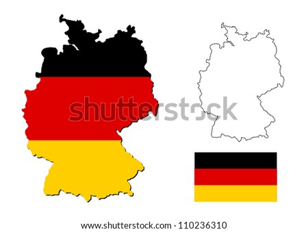 germany map with german flag