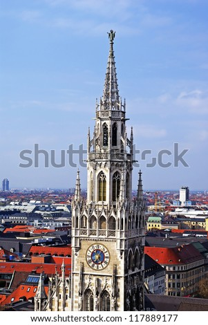germany munich tower with clock of cathedral