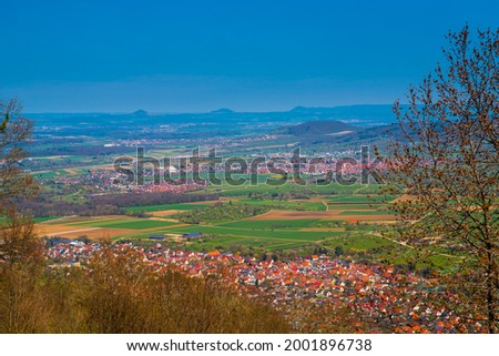 Germany, Panorama aerial drone view above roofs of houses of village dettingen in swabian alb nature landscape near stuttgart on sunny day Imagine de stoc ©