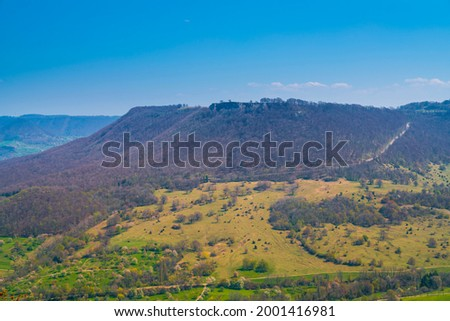Germany, Panorama aerial drone view to breitenstein rock in swabian alb nature landscape near stuttgart on sunny day Imagine de stoc ©