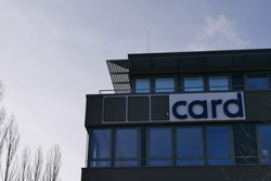 Germany's biggest historical fraud case Wirecard comes to an end with the dismantling of the logo and advertising signs. Former German DAX 30 flagship company reaches the end and logo is dismantled.