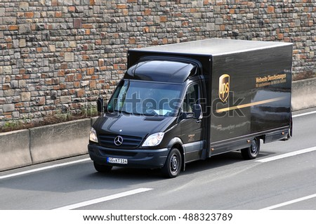 GERMANY - SEPT 22:van of UPS on the route on September 22,2016 in Germany. #488323789