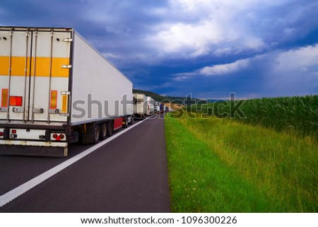 Germany traffic jam in a road accident vehicles in a row #1096300226