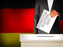 Germany Upcoming Parliamentary Elections Concept Background with young man