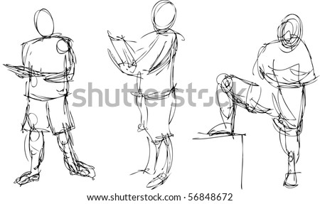 Gestural drawings of the human figure in action - stock photo