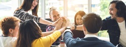 Gesture hand high five of Group employee laughing together with achivement mission at millenial company. Casual business with startup friends teamwork community celebration, win and conquest concept
