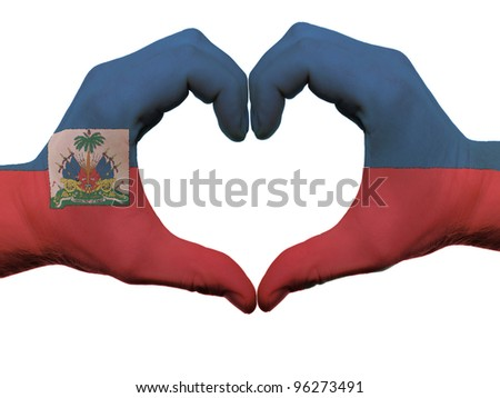 Gesture made by haiti flag colored hands showing symbol of heart and love, isolated on white background