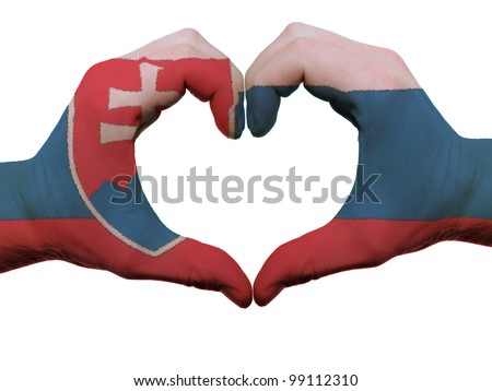 Gesture made by slovakia flag colored hands showing symbol of heart and love, isolatd on white background