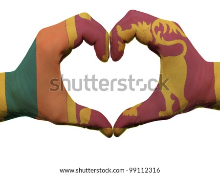 Gesture made by srilanka flag colored hands showing symbol of heart and love, isolated on white background - stock photo