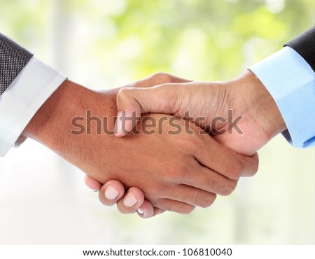 gesture of businessman's hand shaking
