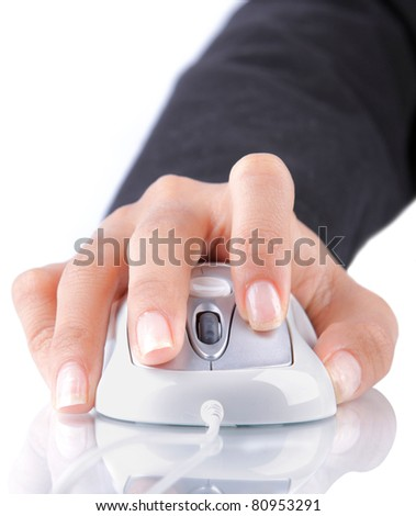 gesture of female hand using white mouse