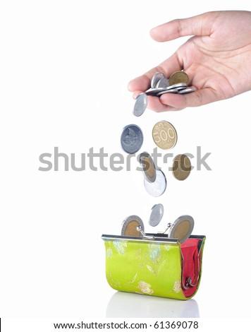 gesture of hand drop money into the wallet
