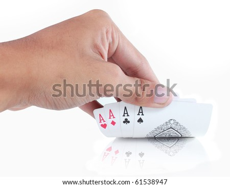 gesture of hand hiding card in poker game