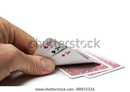 Gesture of hand hiding cards in poker game