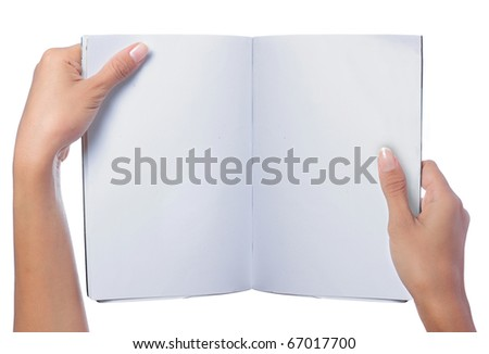 gesture of hand holding a blank magazine