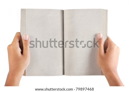 gesture of hand holding a book. isolated over white background