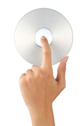gesture of hand holding a compact disc