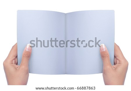 gesture of hand holding and reading a book over white background
