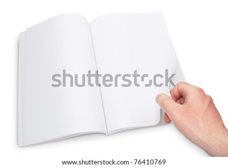 gesture of hand open the blank magazine