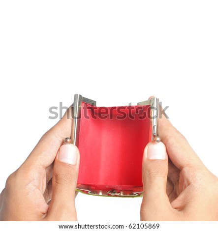 gesture of hand open the red empty wallet - stock photo