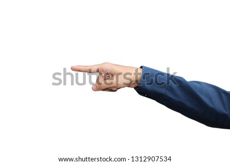 Gesture of hand pointing or touching in formal long sleeved shirt isolated on white background