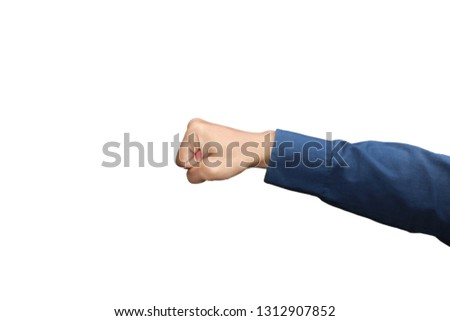 Gesture of hand showing punch fist in formal long sleeved shirt isolated on white background