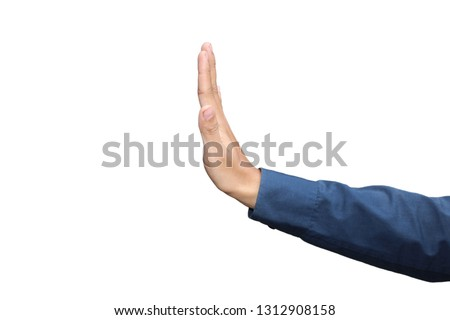 Gesture of hand showing stop in formal long sleeved shirt isolated on white background