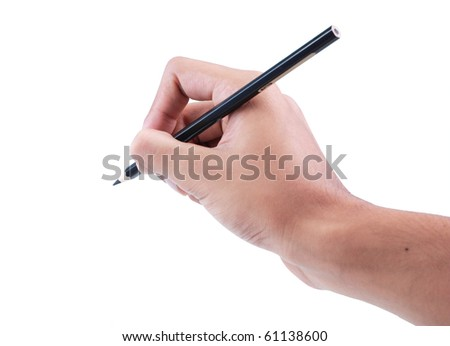 gesture of hand writing with pencil